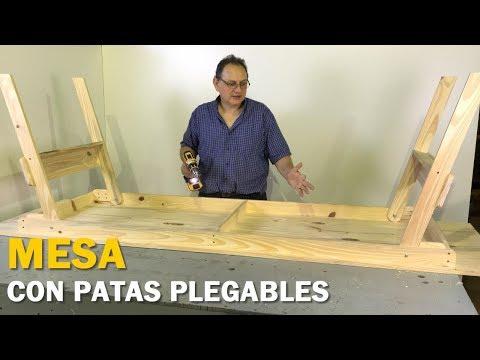 MESA CON PATAS PLEGABLES DE MADERA PARA 10 PERSONAS PASO A PASO FÁCIL - TUTORIAL DE CARPINTERÍA