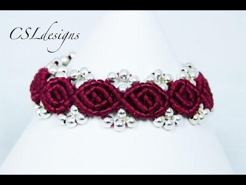 Rosebud macrame bracelet ⎮ Valentine's Day