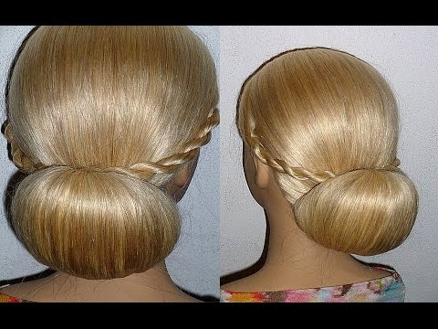 Evening/Prom/Wedding Hairstyle.Donut Hair Bun Updo Hairstyles Tutorial.Penteados
