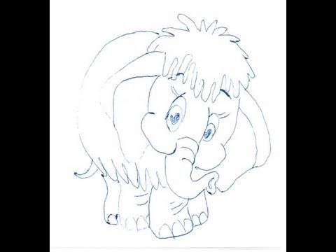 Как нарисовать мамонтёнка поэтапно