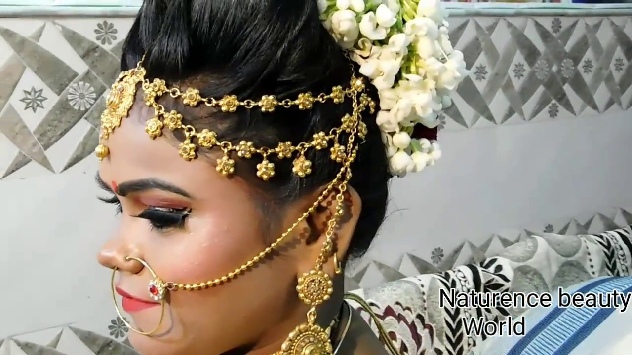 bridal puff hairstyle with gajra { without music } ( hindi )