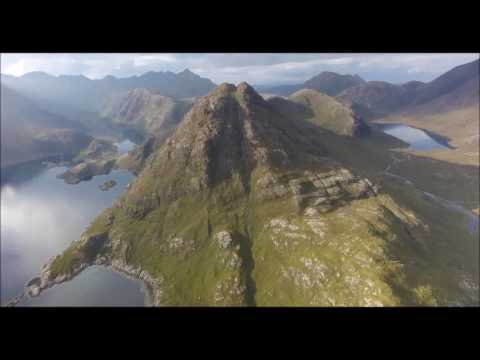 Elgol to Sgurr na Stri, loch Coruisk and the Black Cuillin, Skye, Scotland by drone