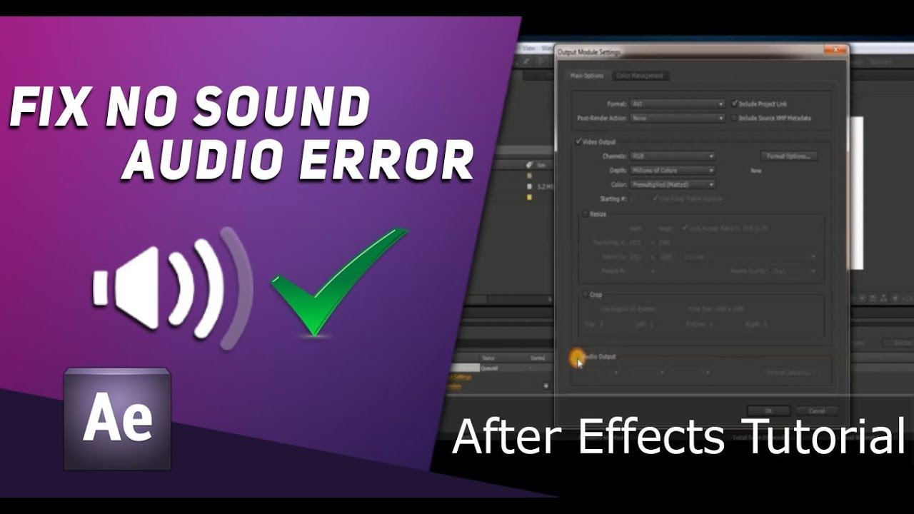 No Sound Audio In Rendered Output Video After Effects Tutorial Youtube