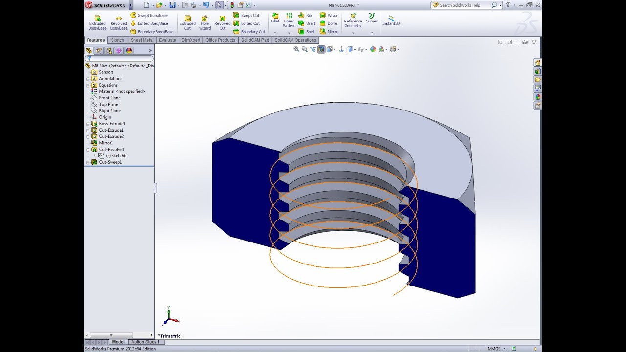 Solidworks Modeling Hex Nut With Acme Thread Solidworks Tutorial