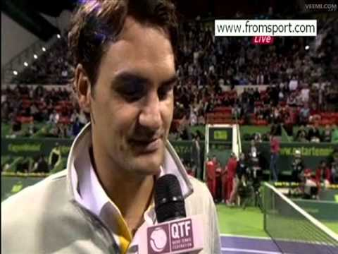 Roger Federer's court interview in 2nd round in Doha 2011 (beat Chiudinelli )