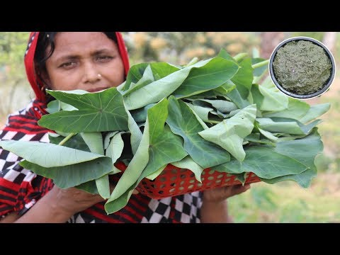 Farm Fresh Kochu Pure Vorta Recipe Healthy & Tasty Green Taro Leaf Paste Cooking Village Food