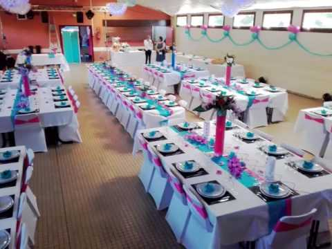 mariage fuschia turquoise salle des fetes youtube. Black Bedroom Furniture Sets. Home Design Ideas