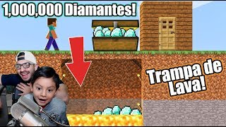Trampa de Diamantes en Minecraft | Broma a Karim Juega | Juegos Karim Juega