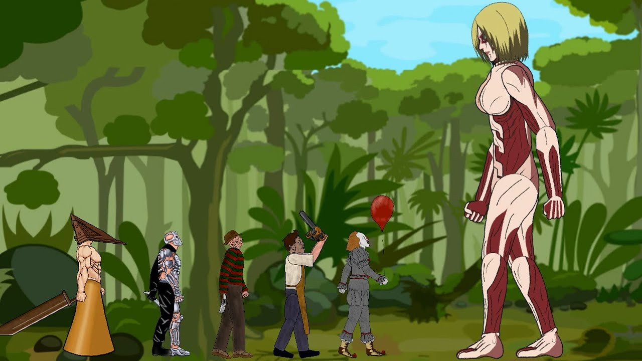 Female Titan vs Pyramid Head, Jason Voorhees, Pennywise, Freddy, Leatherface - Drawing Cartoons 2