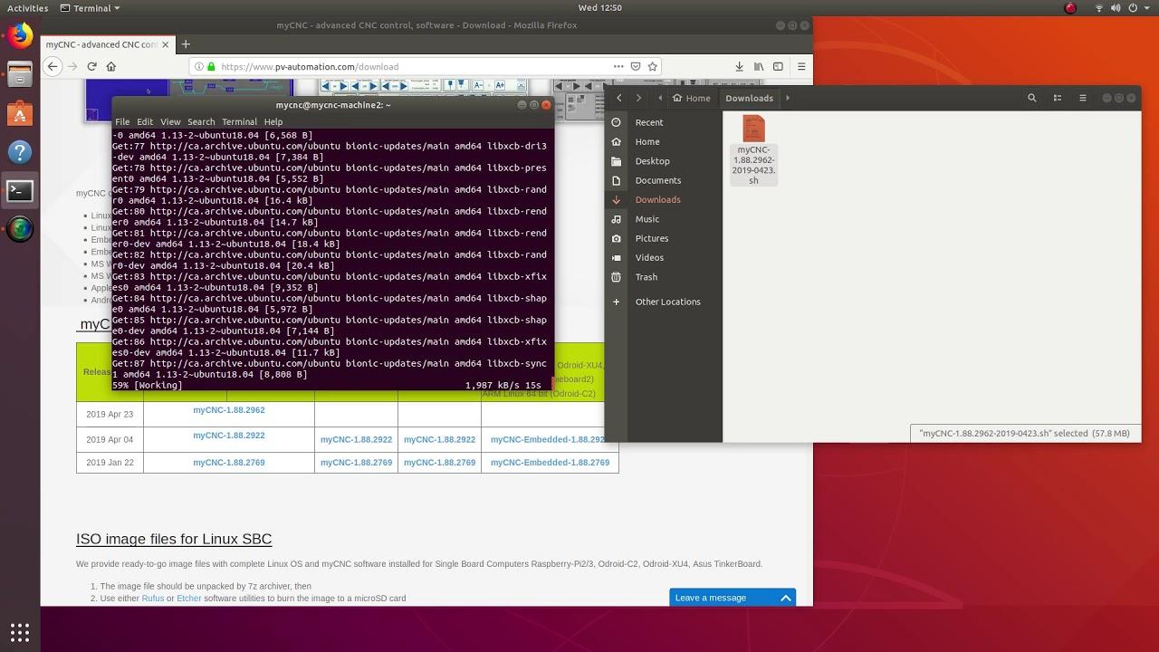 Demo video - myCNC installation on Ubuntu 18 04 LTS