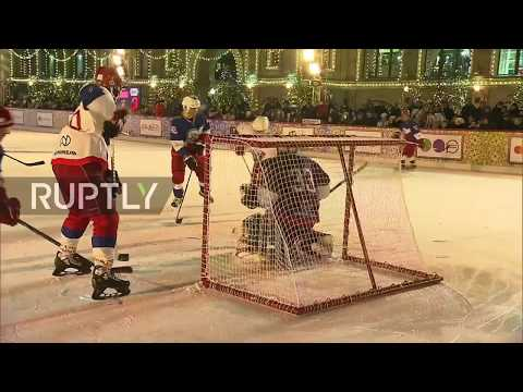 Russia: Putin scores five times in hockey game on Red Square