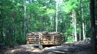Building Log Cabin, Grady Partin And Son Stan