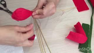 Как сделать тюльпан из гофрированной бумаги?