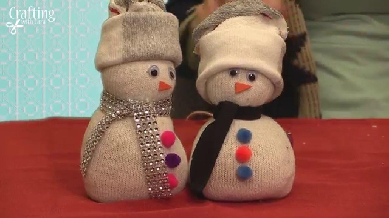 白いソックスで作る♪雪だるまの作り方☆クリスマス飾りぬいぐるみ♪