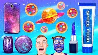 TANTANGAN MAKANAN GALAKSI || Makanan Astronot vs Asli! Makan Hanya 1 Warna Oleh 123 GO! CHALLENGE