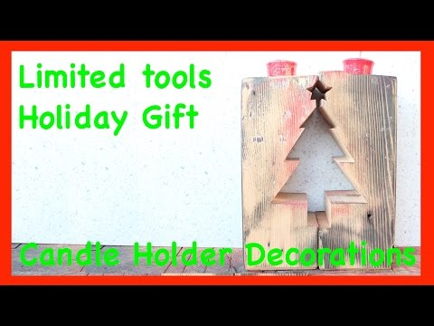 DIY Simple Bandsaw project Rustic Holiday Tea light Candle holder Ideal Gift or christmas decoration