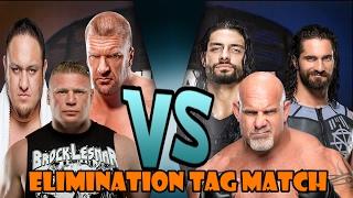 vuclip Brock Lesnar, Triple H & Samoa Joe vs Roman Reigns, Seth Rollins & Goldberg (Elimination Tag)