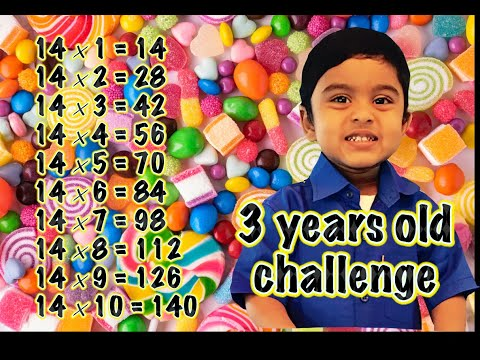 Adorable 3 Year Old Kid Genius  Writing 14 times table
