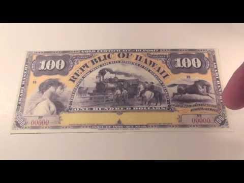 1895 $100 Republic of Hawaii Gold Certificate Note