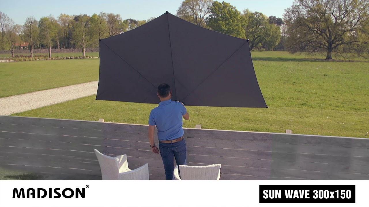 Parasol Voor Balkon.Madison Balkonparasol Sun Wave 300cm Demonstratie Youtube