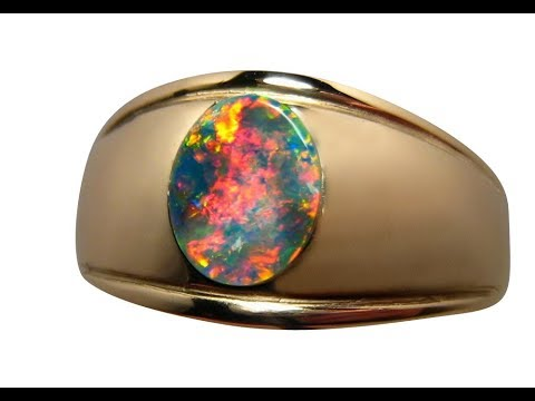 Black Opal Ring for Men Rare Red on Black Quality Opal Ring YouTube