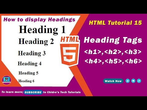 HTML Video Tutorial - 15 - Html H1, H2, H3, H4, H5, And H6 Tags