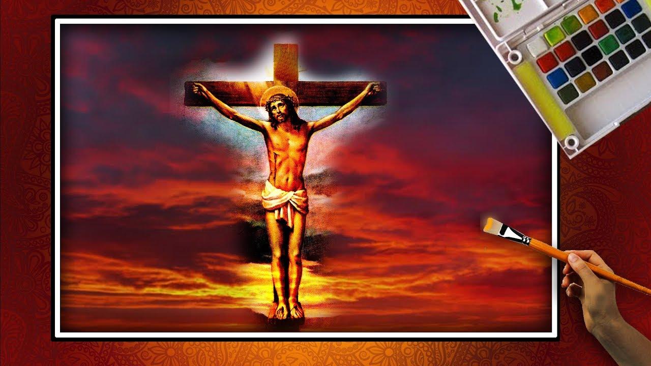 How to draw draw JESUS on the CROSS || LORD JESUS CROSS ...