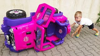 Elis and Thomas pretend play rescue mission - Ride On Power Wheel Toys with Baby Doll