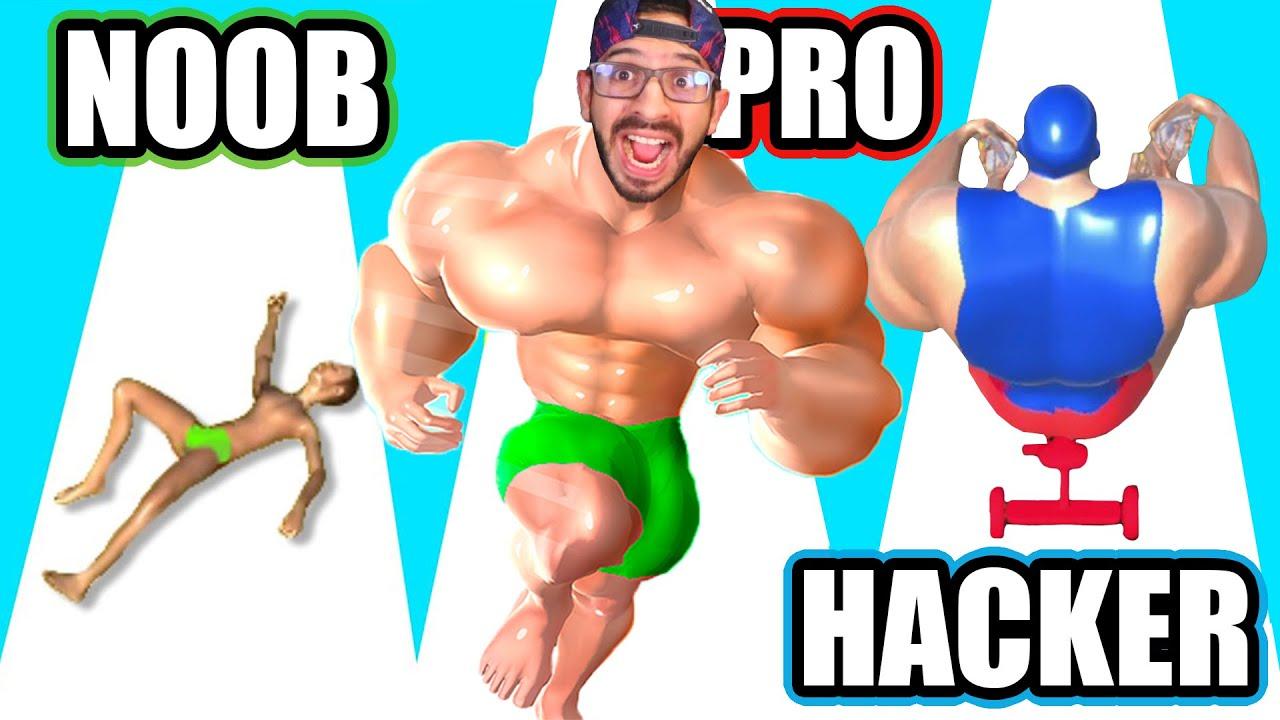 NOOB vs PRO vs HACKER en Muscle Race 3D | Max Level Muscle Race 3D | Juegos Luky