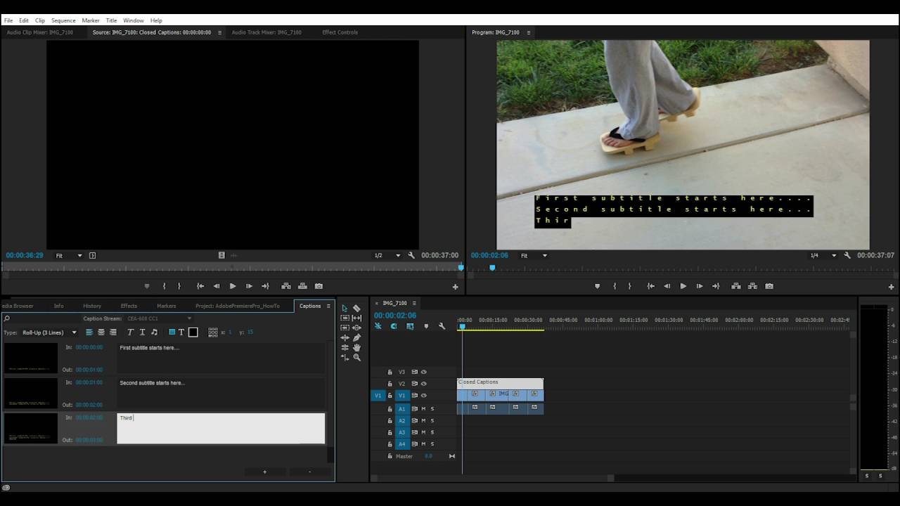Adobe Premiere Pro CC How to Create Closed Captions Subtitles part 1 of 2