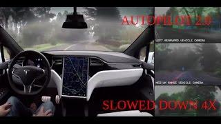 Tesla Autopilot 2 0 Full Self Driving Hardware: Neighborhood Long - Slowed Down 4x