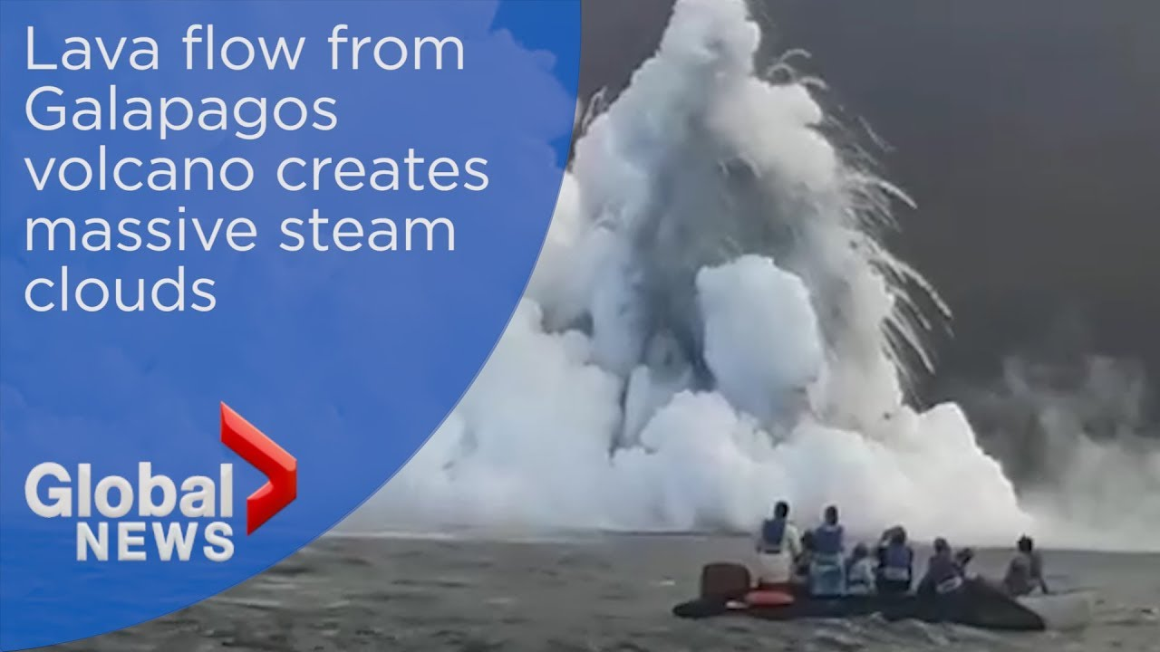 Galapagos volcano leaves boaters in awe as lava creeps into ocean