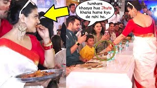 Kajal's WEIRD Behaviour Serving Her Jhoota Food Which She Eat At Durga Puja 2018 Ceremony