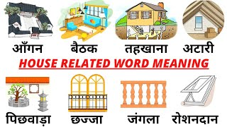 Common English Words with Hindi meaning | House Related Word Meaning | English Vocabulary