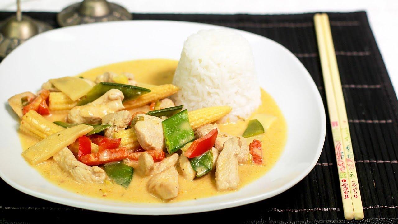 Schnelles Thai Curry Mit Hähnchen Und Gemüse Youtube