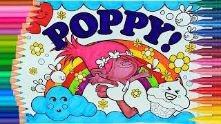 Trolls Poppy de pintar | Cómo dibujar y colorear | Dibujos para colorear | Dibujos para pintar