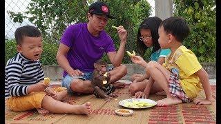 Baby Monkey   Monkey Doo Eats Mango With Cute Kids