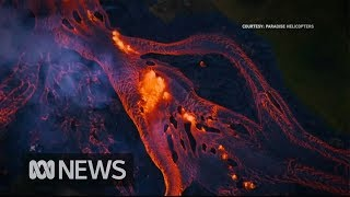 Rivers of fast-moving lava flow from Hawaii
