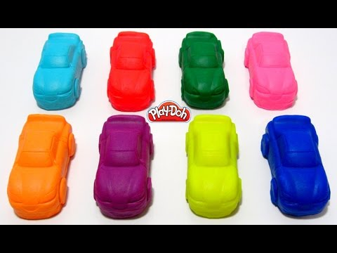 Играем и учим цвета на английском языке с машинами из пластилина Play-Doh.