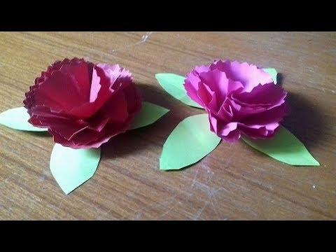 Carnation flower making- Origami Paper flower making