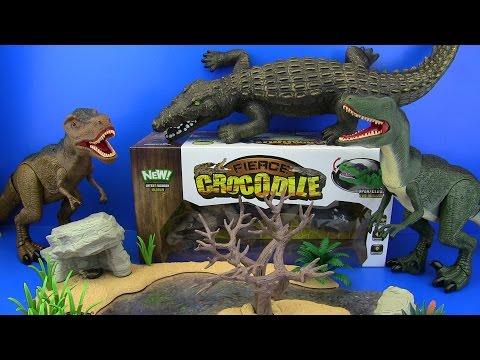 DINOSAURS JURASSIC WORLD & Crocodile VS T-rex & Velociraptor Dinosaur !! Video for kids