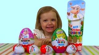 Миньоны Хело Китти Киндер сюрприз игрушки распаковка Kinder Minions Hello Kitty surprise eggs toys