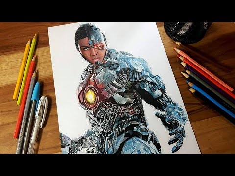 Speed Drawing Cyborg (Ray Fisher) Justice League Movie 2017