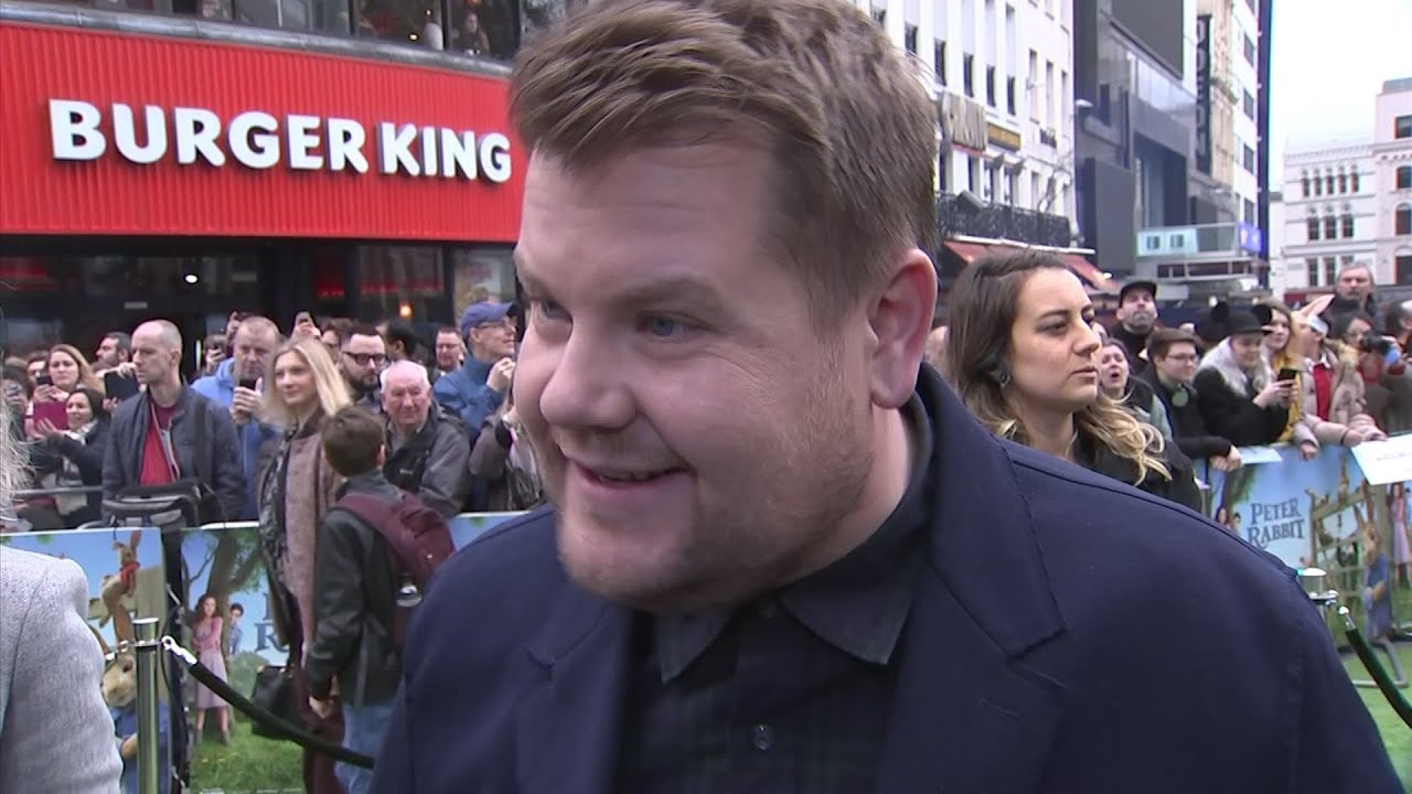 Corden, Ridley celebrate 'Peter Rabbit' success