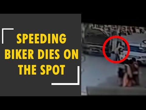 Caught on CCTV: Speeding biker hits van in Ratlam, dies on the spot