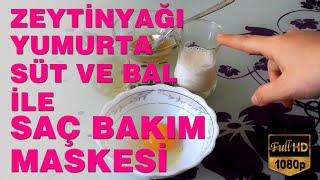 Zeytinyağı Yumurta Süt ve Bal ile Saç Bakım Maskesi   Saç Bakımı #V9