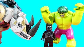 Lego Black Panther Rhino Face Off By The Mine Toy Review With Lego Hulk Family