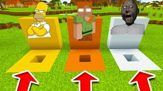 Minecraft PE : DO NOT CHOOSE THE WRONG HOLE! (Simpsons, Alexbrine & Granny)