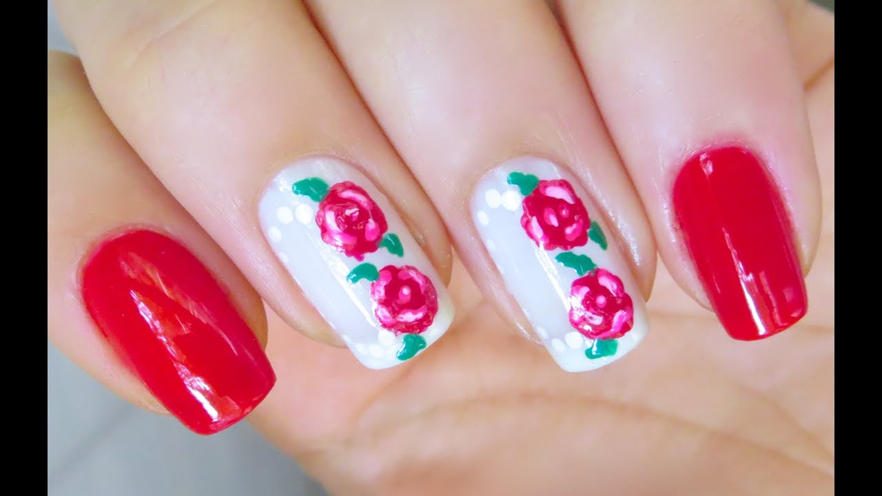 Cute flower nail art design roses youtube prinsesfo Choice Image