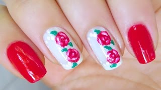 Cute Flower Nail Art Design Roses Thumbnail